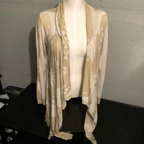 Say What? Sweaters - Cardigan Brand Say What White and Tan Print L
